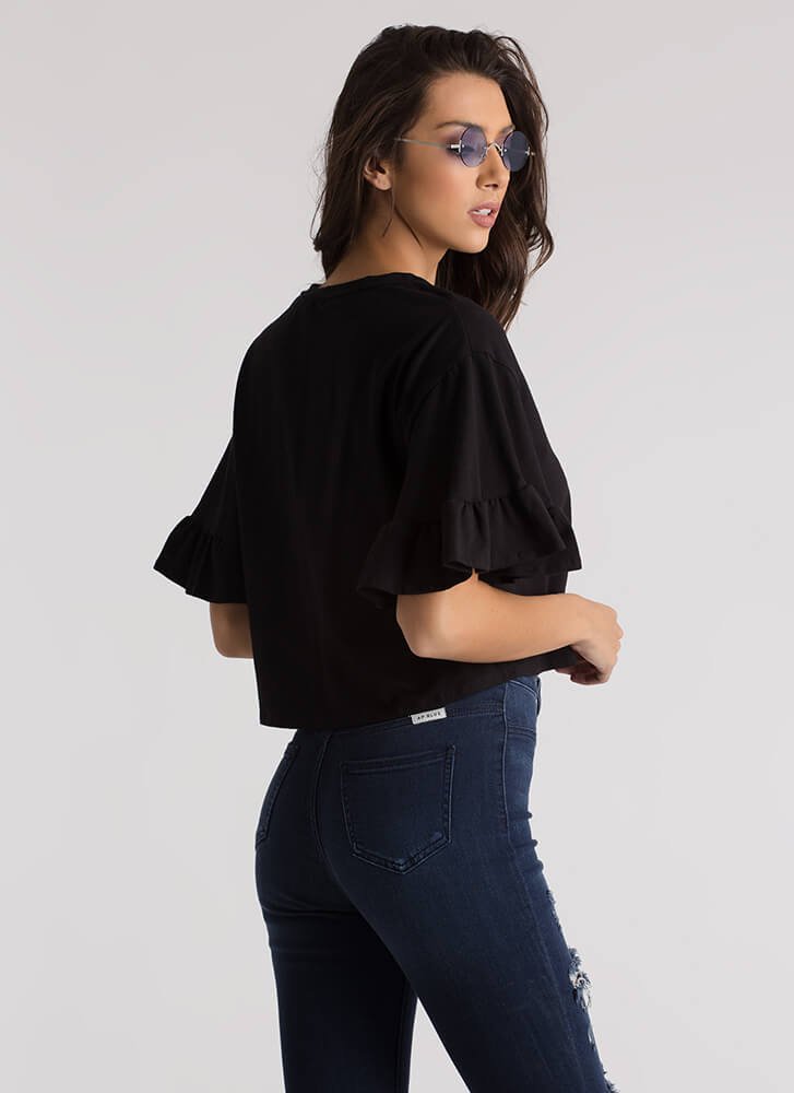 Frilled To Bits Ruffle Sleeve Crop Top BLACK