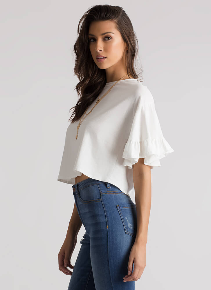 Frilled To Bits Ruffle Sleeve Crop Top WHITE