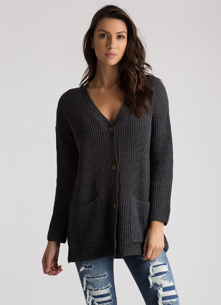 Warming Up Button-Up Knit Cardigan CHARCOAL