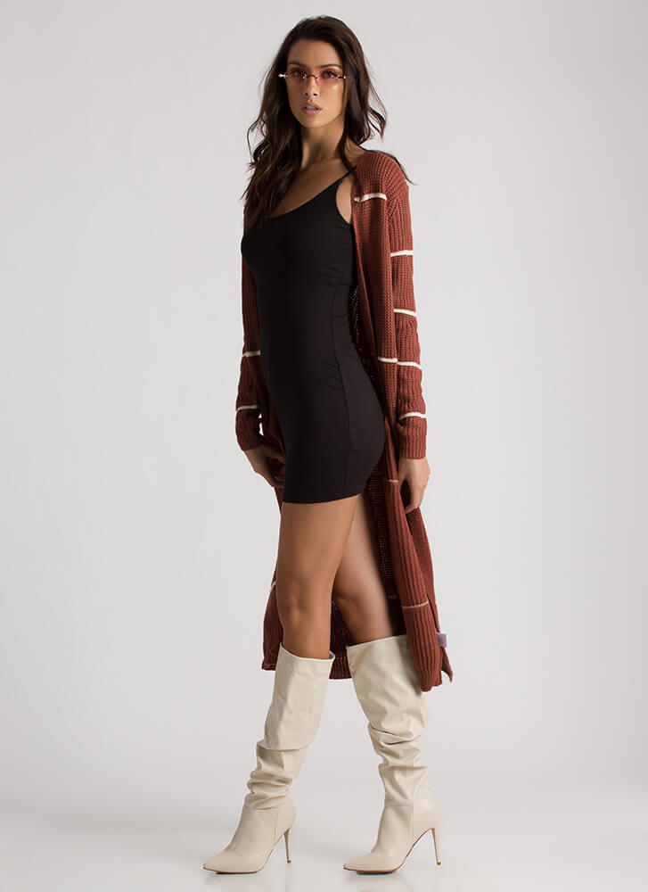Simply Striped Knit Duster Cardigan MAUVE