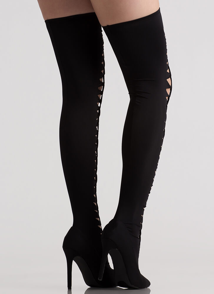 In The Loops Stretchy Thigh-High Boots BLACK