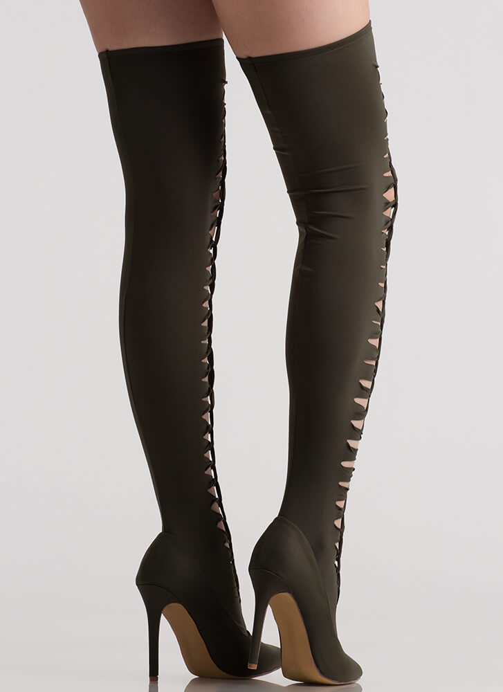 In The Loops Stretchy Thigh-High Boots OLIVE (Final Sale)