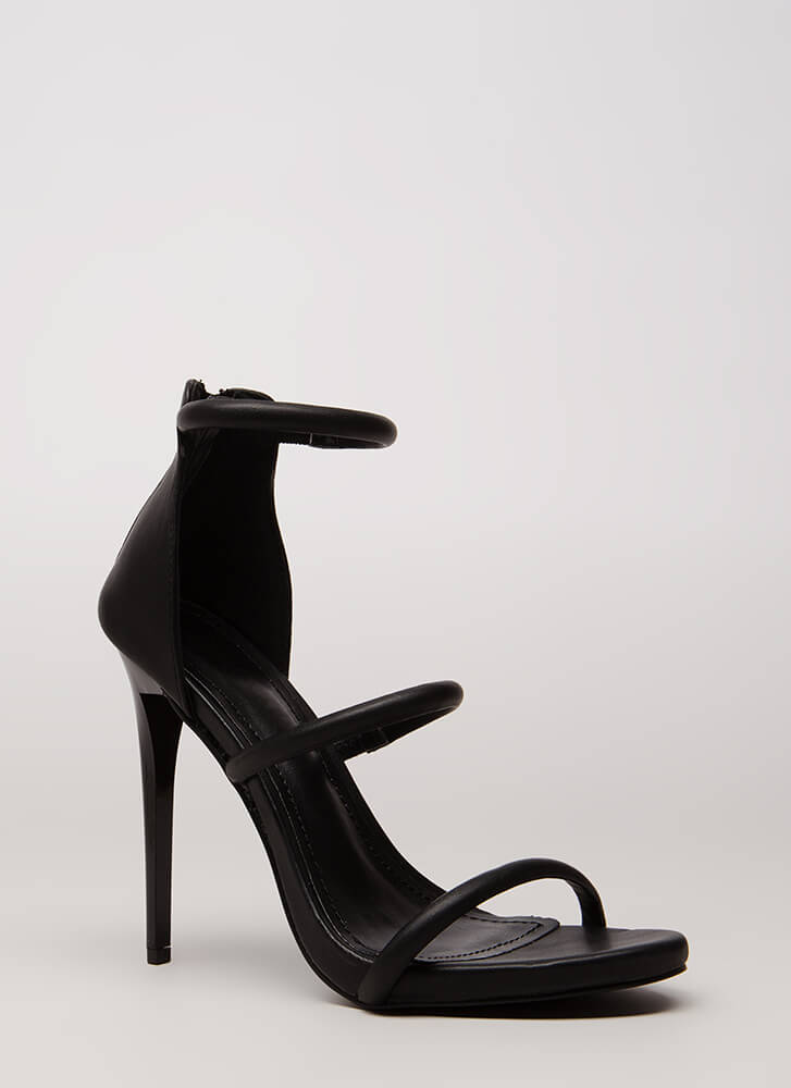 The Right Angle Skinny Strap Heels BLACK (Final Sale)