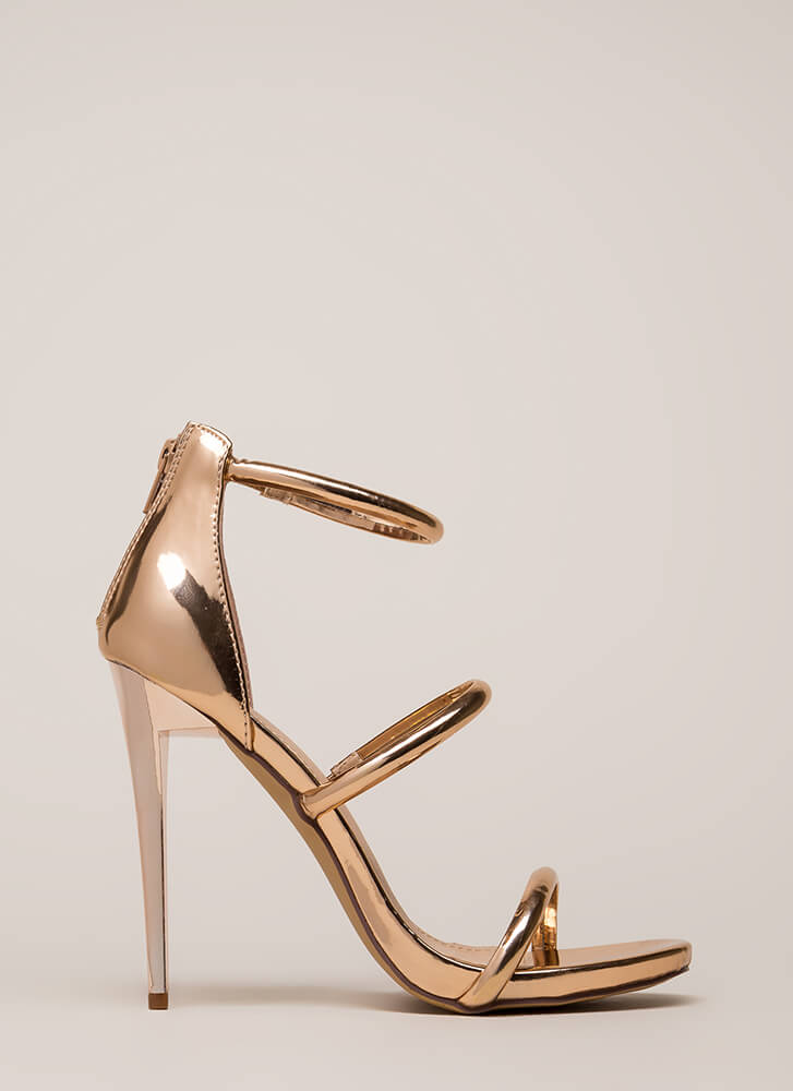 The Right Angle Skinny Strap Heels ROSEGOLD (Final Sale)