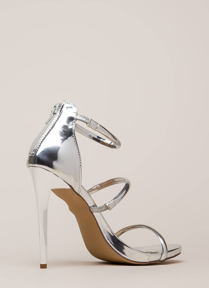 The Right Angle Skinny Strap Heels SILVER (Final Sale)