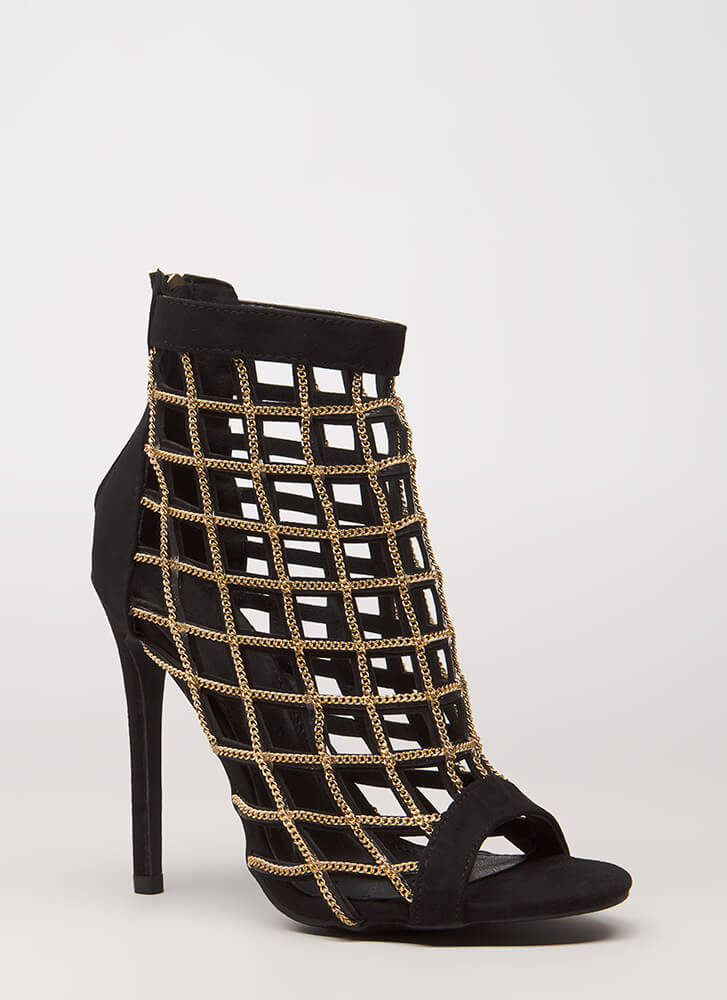 2 Many Chainz Strappy Caged Heels BLACK