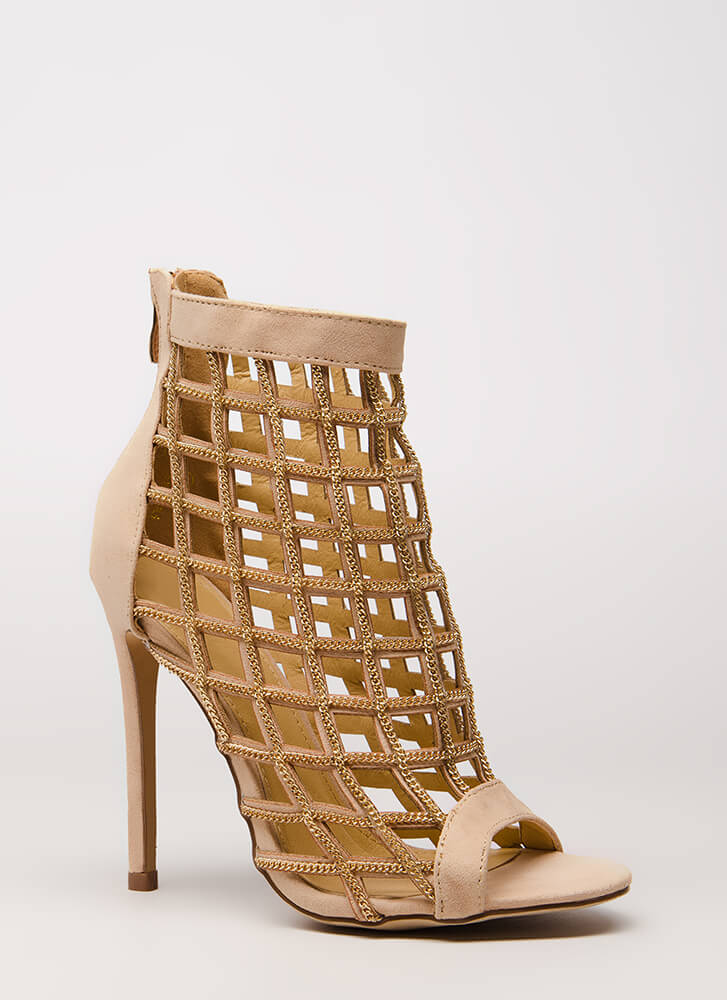 2 Many Chainz Strappy Caged Heels NUDE