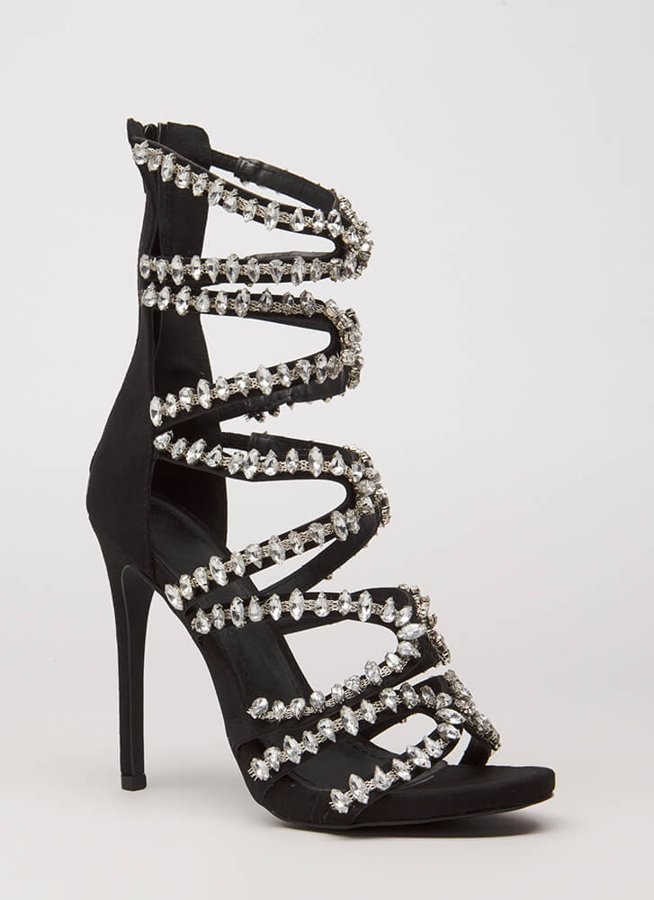 All My X's Strappy Jeweled Caged Heels BLACK
