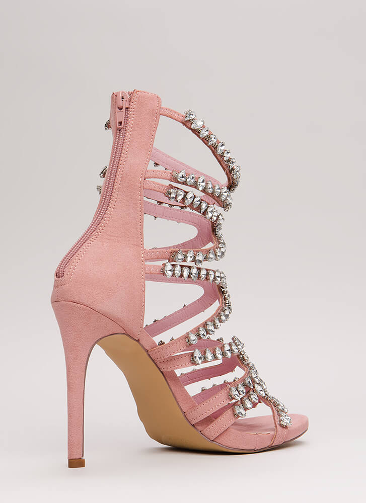 All My X's Strappy Jeweled Caged Heels DUSTYPINK