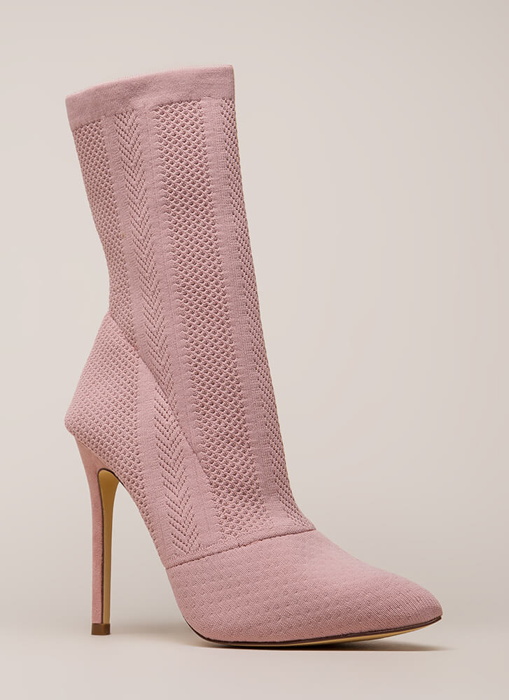 Point Them Out Textured Knit Booties DUSTYPINK