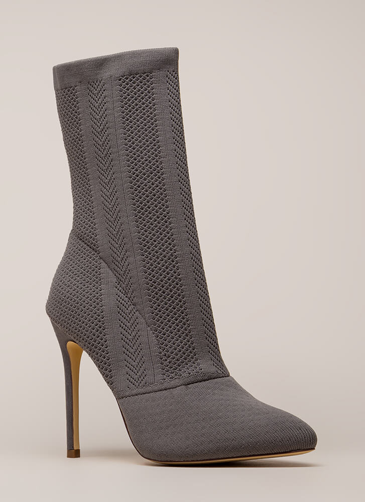 Point Them Out Textured Knit Booties GREY