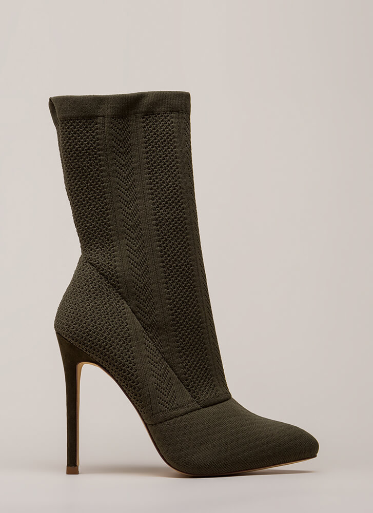 Point Them Out Textured Knit Booties OLIVE