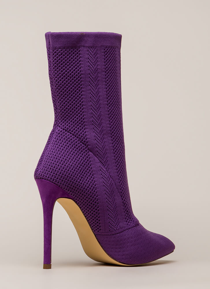 Point Them Out Textured Knit Booties PURPLE