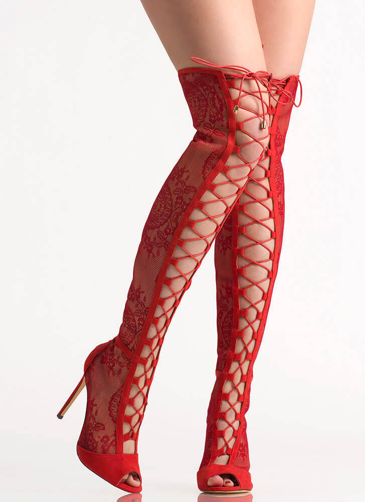 Lovely In Lace Lace-Up Thigh-High Boots RED