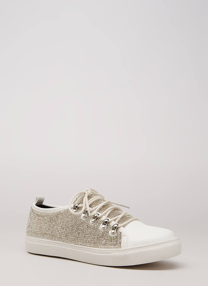 So Much Sparkle Rhinestone Sneakers WHITE