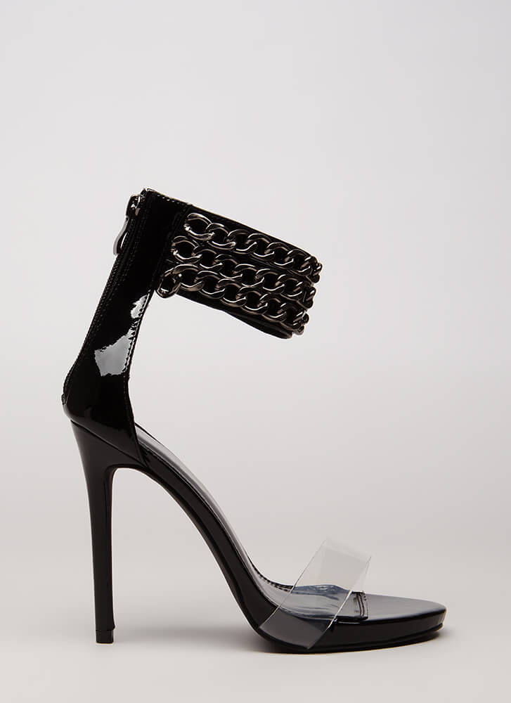 Clearly Linked Chain Strap Heels BLACK (Final Sale)