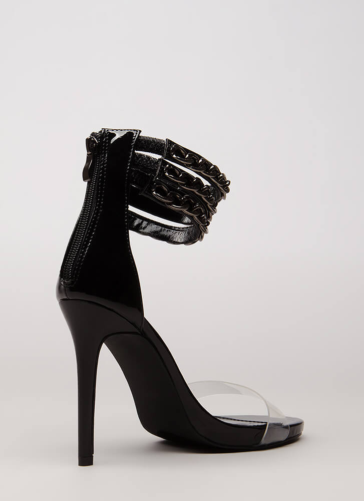 Clearly Linked Chain Strap Heels BLACK