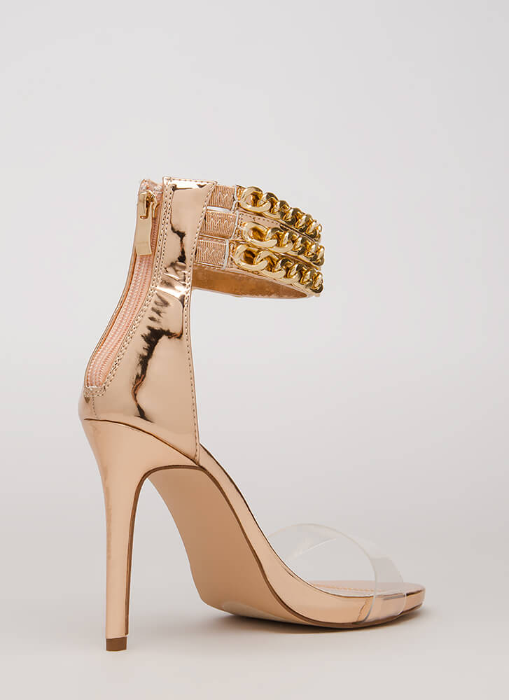 Clearly Linked Chain Strap Heels ROSEGOLD