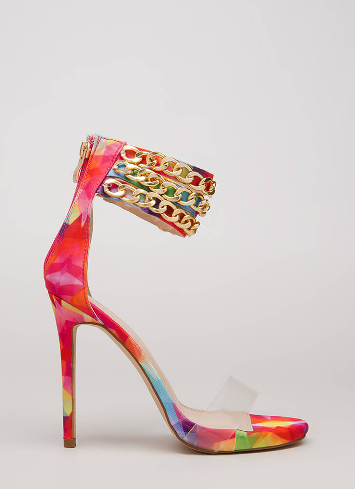 Clearly Linked Rainbow Chain Strap Heels MULTI
