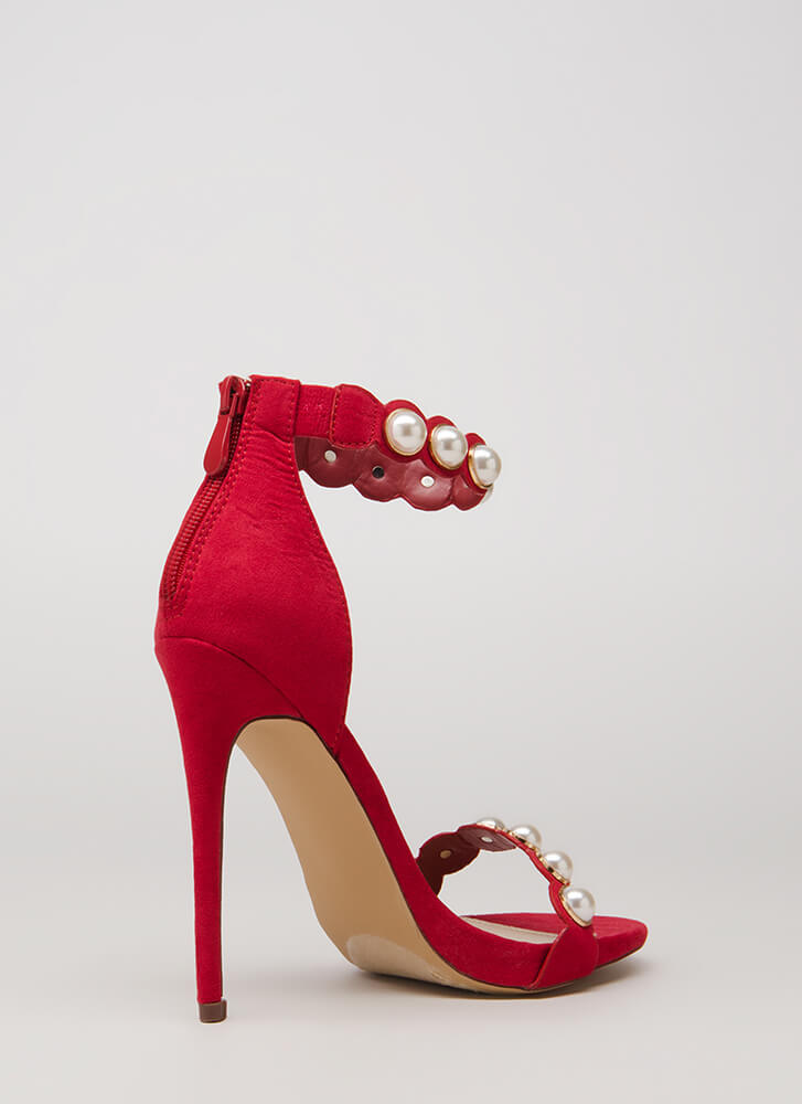 Personal Bubble Faux Pearl Heels RED