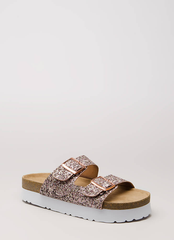Let This One Slide Glittery Sandals BLUSH