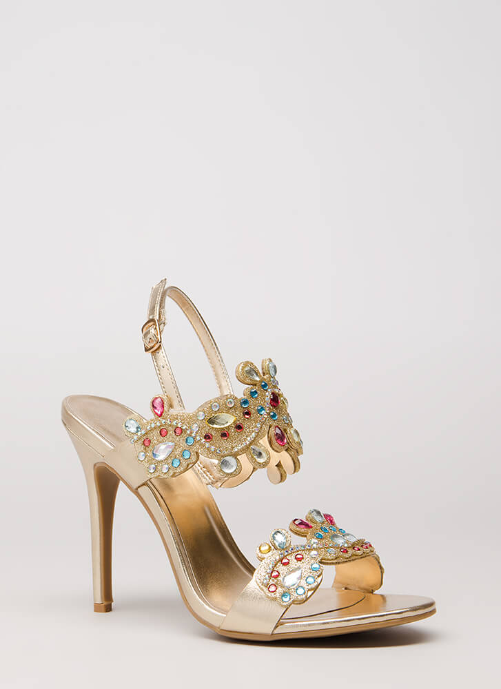 Crowning Achievement Jeweled Heels GOLD
