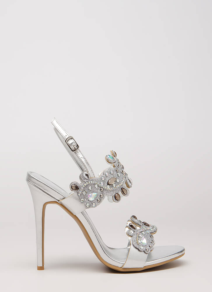 Crowning Achievement Jeweled Heels SILVER