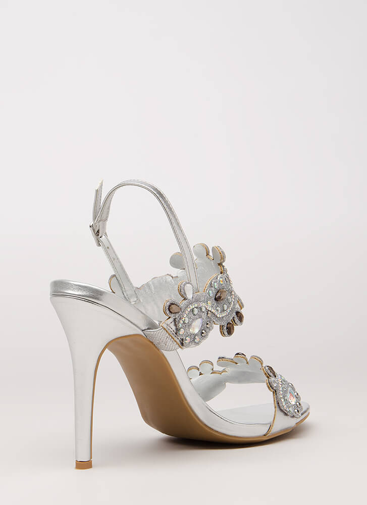 Crowning Achievement Jeweled Heels SILVER (Final Sale)