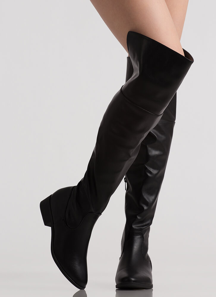 I Need Faux Leather Thigh-High Boots BLACK