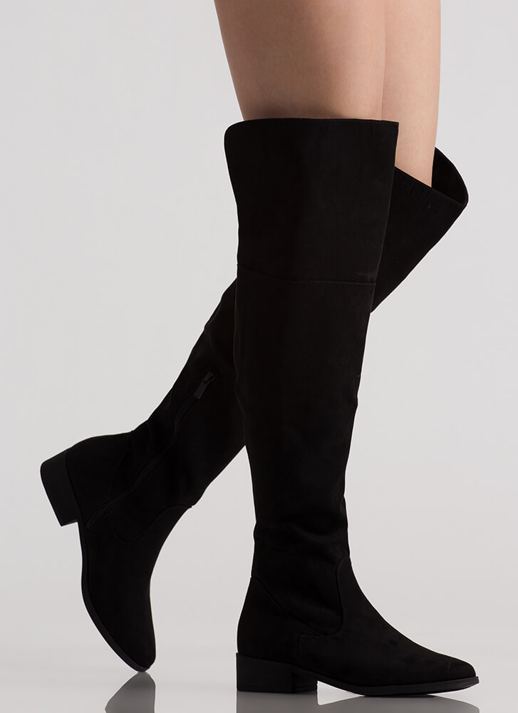 I Need Faux Suede Thigh-High Boots BLACK