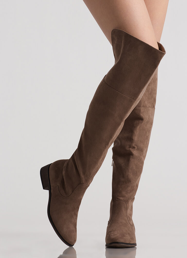 I Need Faux Suede Thigh-High Boots TAUPE