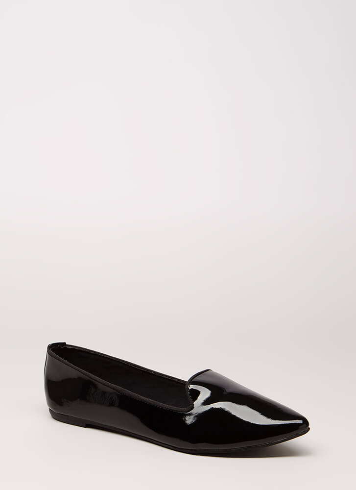 Point It Out Faux Patent Smoking Flats BLACK