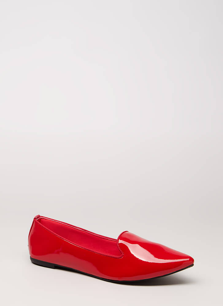 Point It Out Faux Patent Smoking Flats RED
