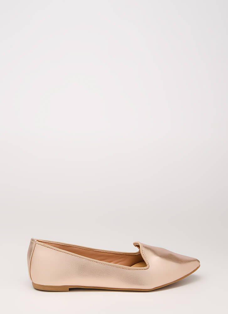 Point It Out Faux Leather Smoking Flats ROSEGOLD