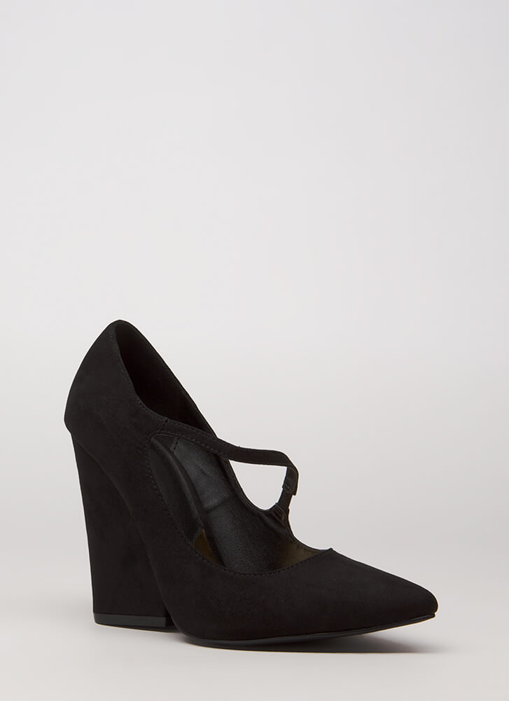 Up A Notch Pointy Faux Suede Wedges BLACK