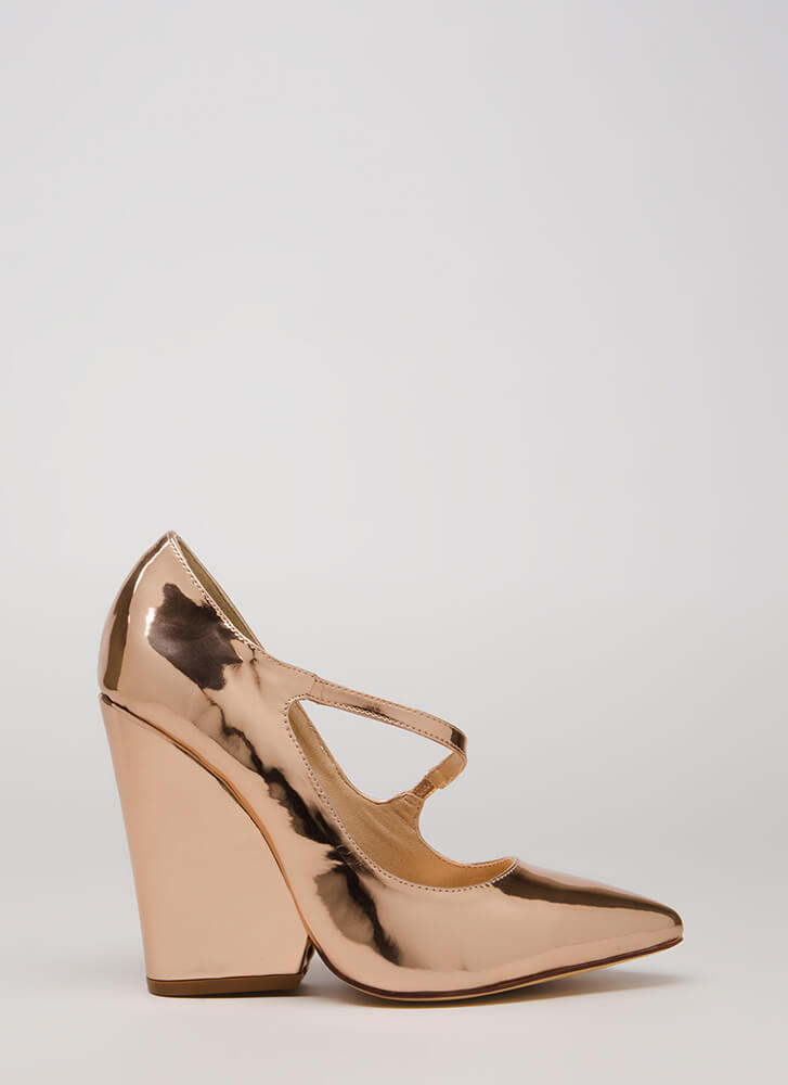 Up A Notch Pointy Faux Patent Wedges ROSEGOLD