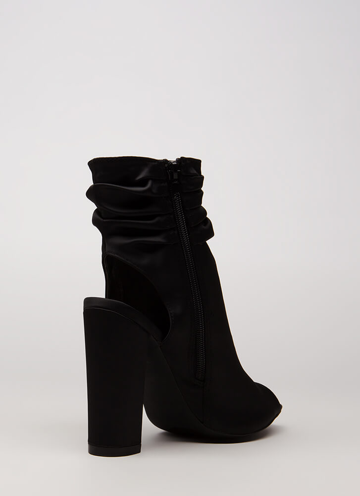 Slouchy In Satin Chunky Peep-Toe Booties BLACK
