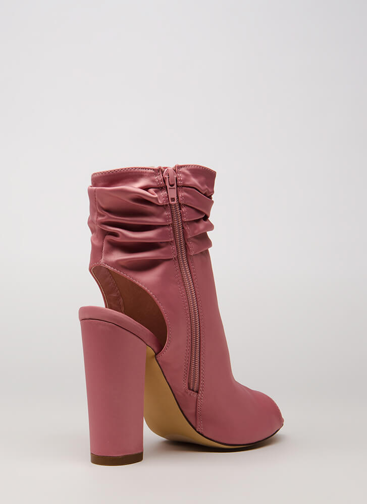 Slouchy In Satin Chunky Peep-Toe Booties DUSTYPINK