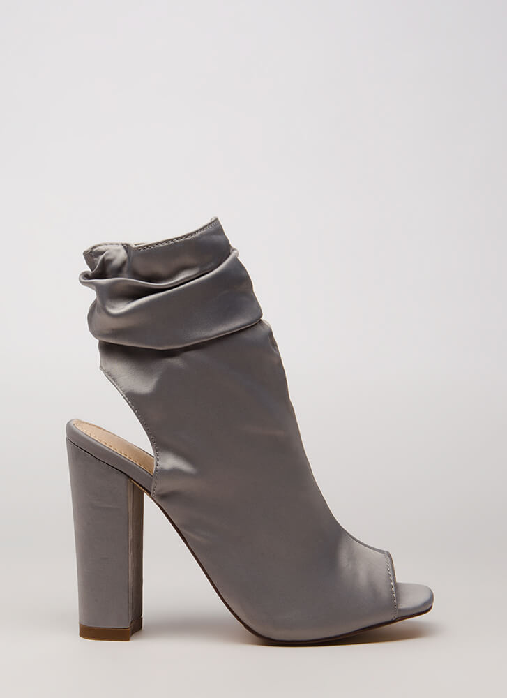 Slouchy In Satin Chunky Peep-Toe Booties GREY