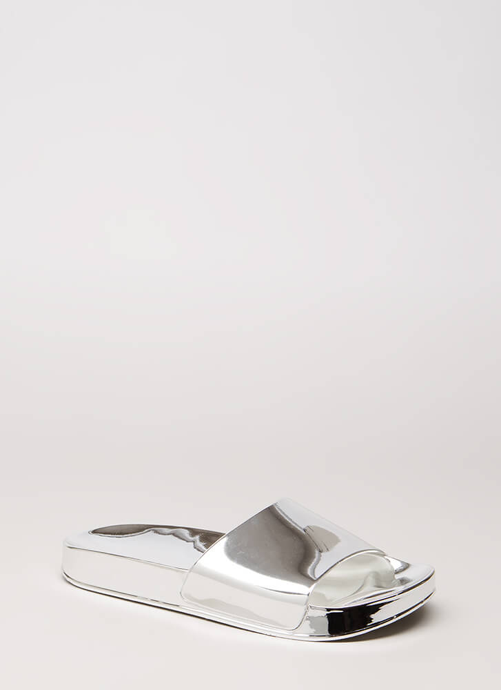 Outshine You Jelly Slide Sandals SILVER