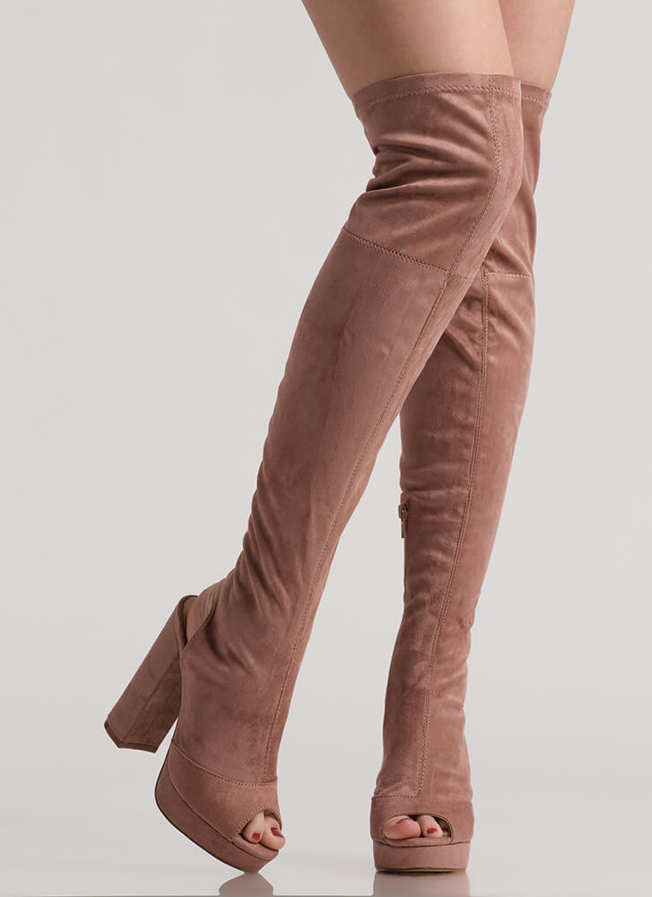A Peep Cut-Out Platform Thigh-High Boots MAUVE