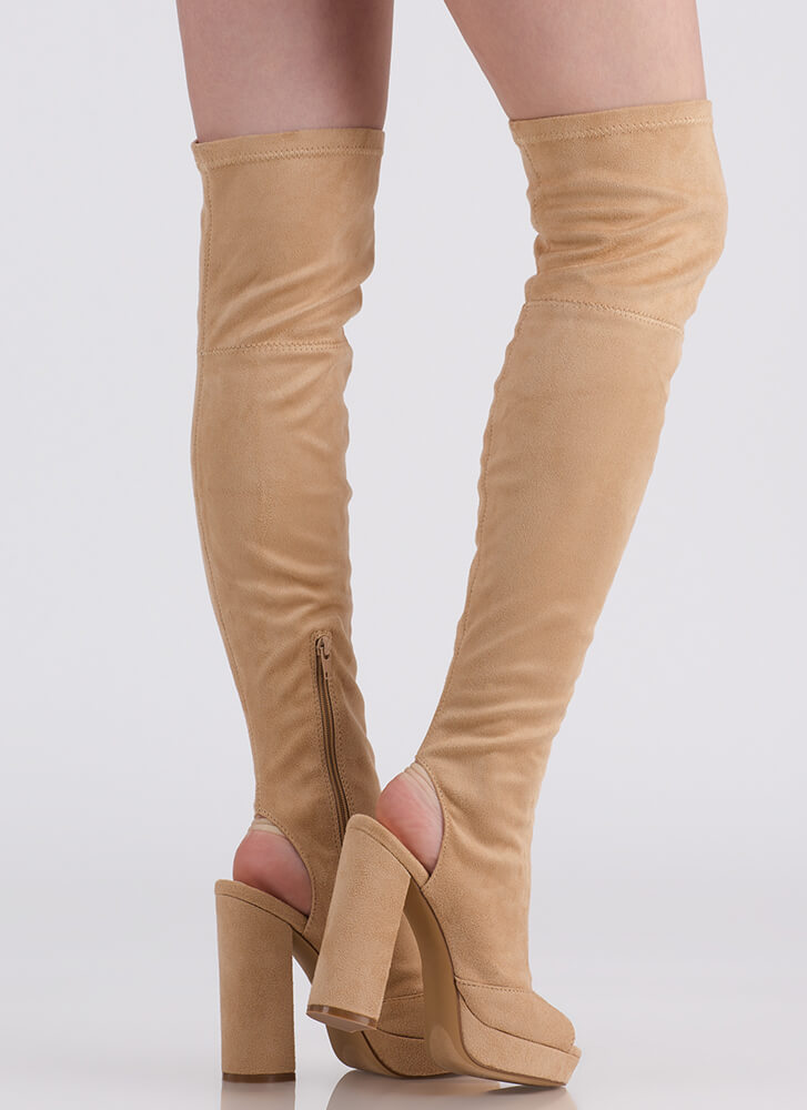 A Peep Cut-Out Platform Thigh-High Boots NUDE