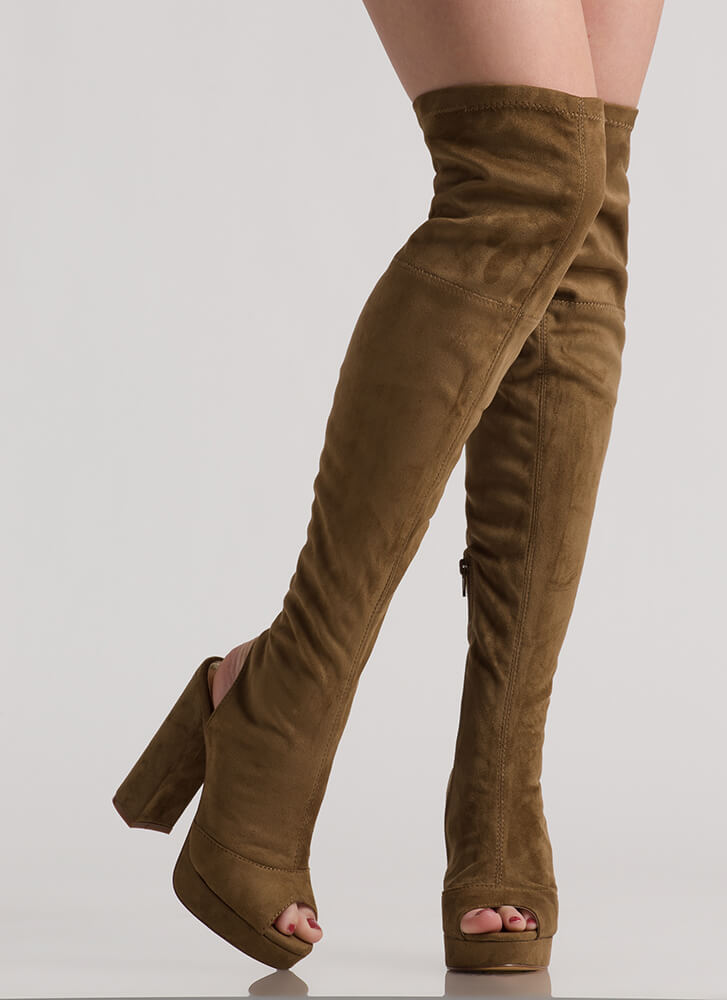 A Peep Cut-Out Platform Thigh-High Boots OLIVE