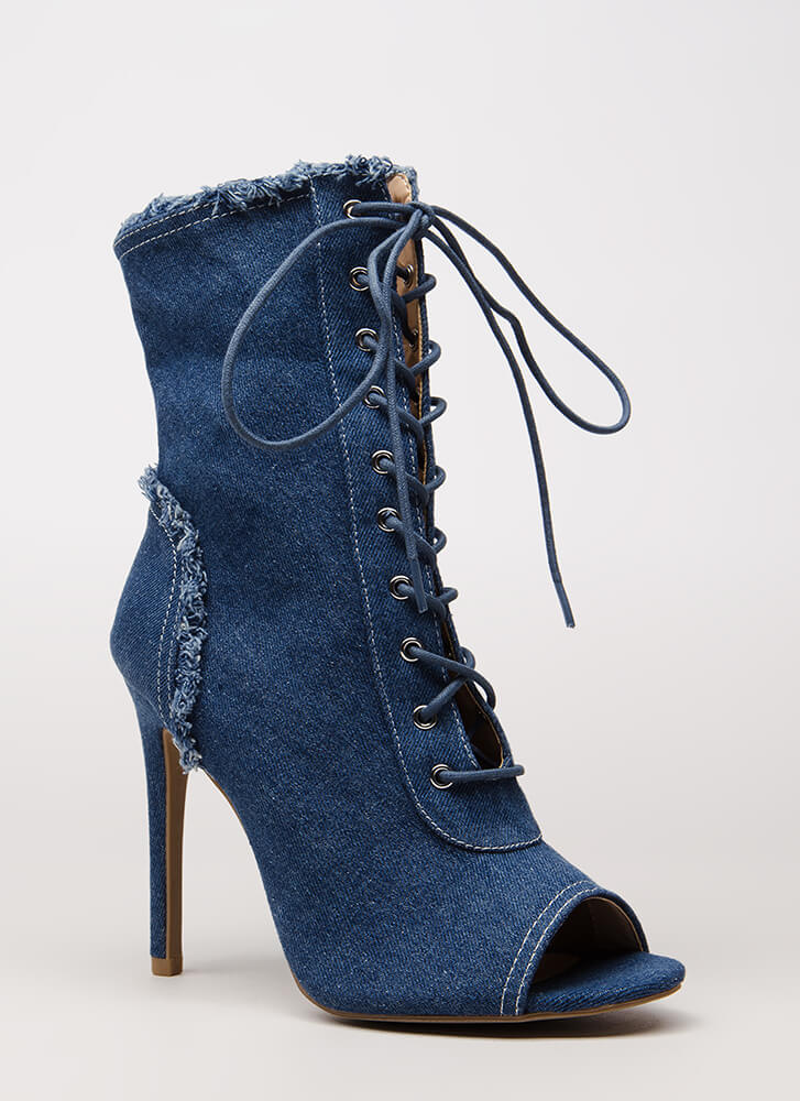 Fringed Fun Denim Lace-Up Booties BLUE