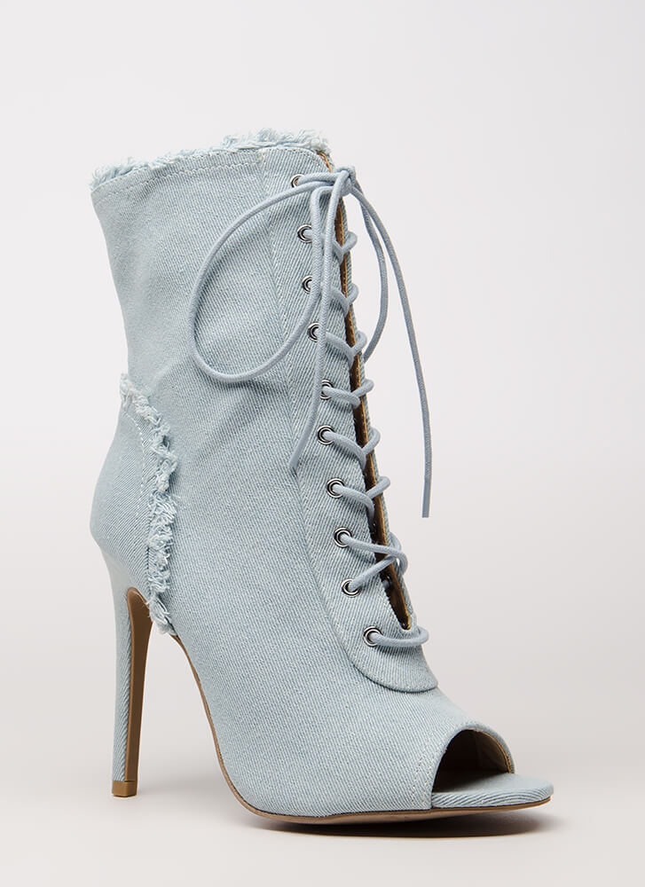 Fringed Fun Denim Lace-Up Booties LTBLUE