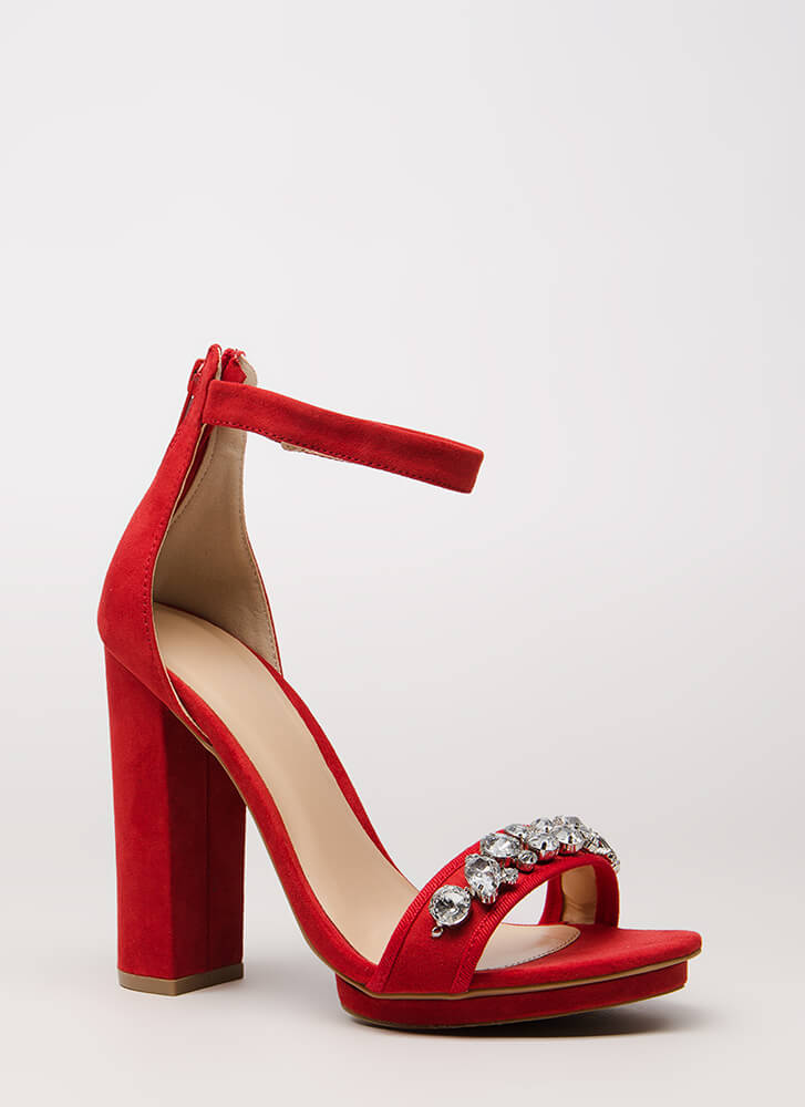 Stack Up Chunky Jeweled Platform Heels RED