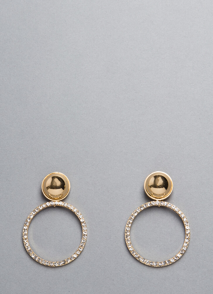 Ring Of Light Jeweled Hoop Earrings GOLD (You Saved $7)