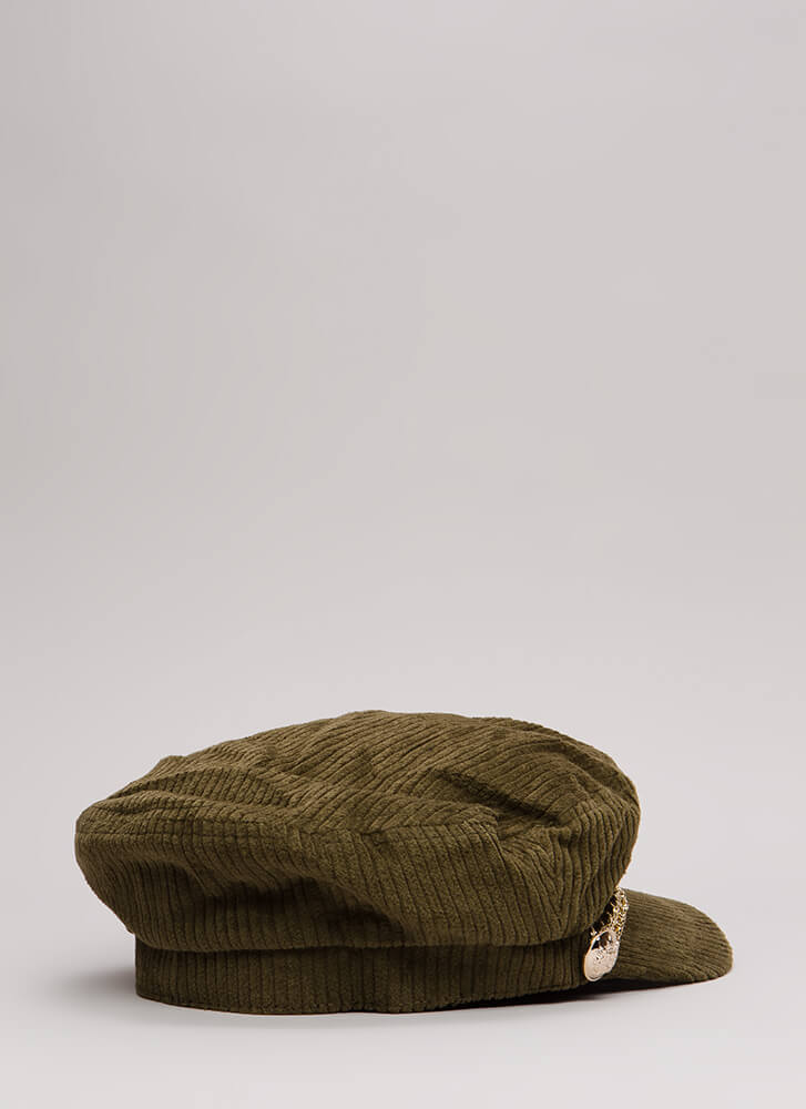 Chain Reaction Corduroy Cabbie Cap OLIVE