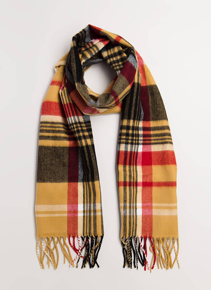 So Good It's Plaid Fringe Scarf KHAKI