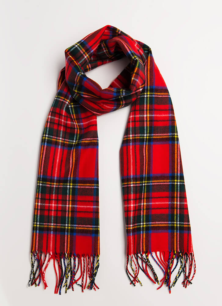 So Good It's Plaid Fringe Scarf RED